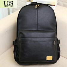 Fashion Men Women PU Leather Backpack Casual School Book Laptop Shoulder Bags