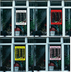 Opening Hours Times Custom Sign Shop Name Window Wall Vinyl Sticker Decal Door