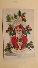 Vintage Christmas Babies Delight Postcard santa smoking pipe