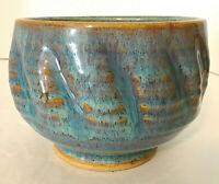 "Darshan Studio Pottery Bowl Blue & Brown 4""H  5.25"" Diam Hand Thrown Vermont EUC"