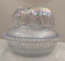 NOS Carnival ICE BLUE Glass RABBIT Bunny Nest JEWELRY Box BOWL Candy DISH GIFT!