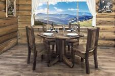 Farmhouse Dining Table and Chairs Set - Amish Made - Rustic Pine Furniture