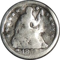 1853-P H10C SEATED SILVER HALF DIME AG DETAILS CULL COND /BENT DAMAGED 041521021