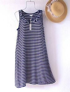 New~$98~Navy Blue & White Stripe Ruffle Shift Boho Spring Dress~Size Large L