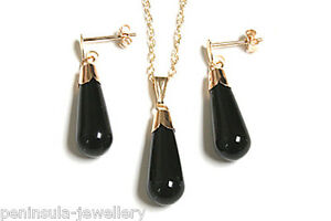 9ct Gold Black Onyx Teardrop Pendant and Earring Set Made in UK Gift Boxed