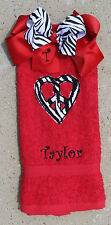 Personalized Zebra Print Peace Heart Red Hand Towel and Matching Zebra Bow Set