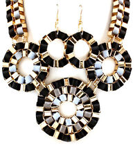Statement BIG Celebrity Urban Glam Gold BIB Necklace  Earrings By Rocks Boutique