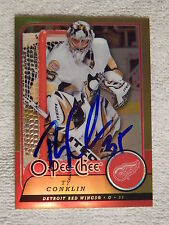 Detroit Red Wings Ty Conklin Signed 08/09 O-Pee-Chee Metal Card Auto
