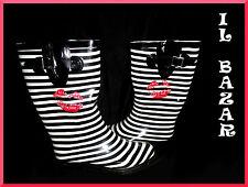 """Galosce stivali da pioggia donna grafico""""kiss"""" righe bianco nero nuovo #"""