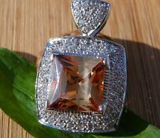 925 STERLING SILVER HUGE SQUARE CHAMPAGNE & CLEAR CUBIC ZIRCONIA FASHION PENDANT