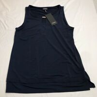 Jones New York Womens Tank Top Blue Keyhole Neck Stretch Blouse S New