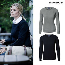 Nimbus Women's Winston Cable Knit Jumper NB68F - Ladies Cotton Crew Neck Sweater