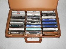 LOT OF 24 USED ROCK  CASSETTE TAPES WITH CASE STORAGE