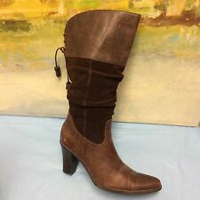 0897c8e9c45f1 Ana Tall Brown Leather   Suede Tall Pointed Toe Fashion Boots Sz. 7 M