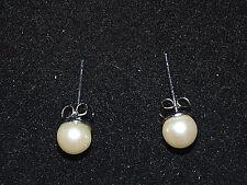 White Faux Pearl Earrings Pierced Stud Fashion Jewelry Casual Office Mom Gift