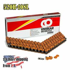 520 Orange Heavy Duty Motorcycle Chain 108 Links with 1 Connecting Link
