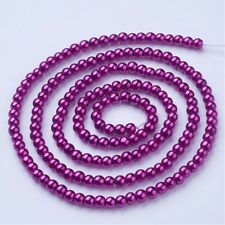 1 Strand 4mm Magenta Pearl Glass Pearls 216 Beads