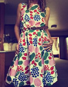 Marimekko Uniqlo Strawberry Grape Midi 100% Cotton Dress Small New With Tags