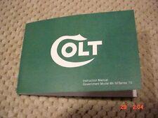 Colt MK IV Series 70 Instruction Manual  Free Shipping! Rare