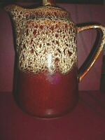 STUDIO POTTERY BROWN LAVA DRIP LEOPARD GLAZE TEA COFFEE POT and SUGAR BOWL.