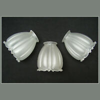 ANTIQUE LOT of 3 RUFFLED FROSTED SATIN ART GLASS LAMP LIGHT SHADE DECO