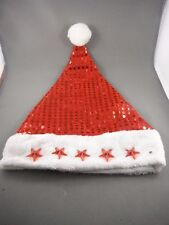 Flashing Santa Hat Red Sequin