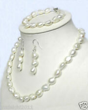 """Real 10-12mm Natural 925 White Akoya Pearl Necklace Bracelet + Earrings 18 """""""