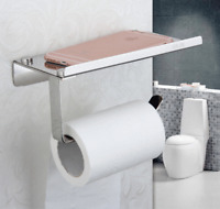 Modern Toilet Paper Holder with Mobile Phone Stainless Steel Rack Wall Mounted
