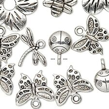 Bug Charms Bee Dragonfly Ladybug Butterfly Flower Silver Jewelry Lot of 25