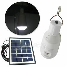 7W Portable USB Charge LED Bulb Lamp Light w/ Hook + Solar Panel Outdoor Camping