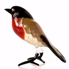 """Red Black Bullfinch Figurine Blown Glass """"Murano"""" Art Animal Bird Miniature"""