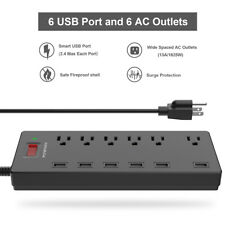POWSAV Surge Protector Power Strip 6-Outlet 6 USB Extension Cord for Home Office