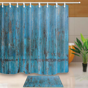 Rustic Old Wooden Wall Polyester Fabric Shower Curtain Bath Curtains Mat Hooks