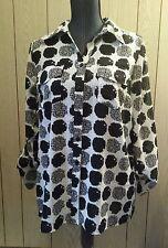 Women's notations medium M black & white  button-down dressy blouse top
