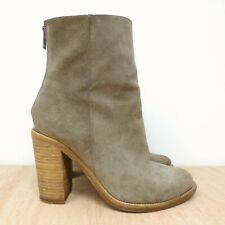 All Saints HESSIAN Grey Suede Leather High Block Heel Ankle Boots UK SZ 5 EUR 38