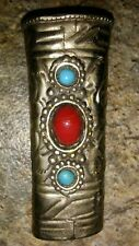 Silver Colored Cigarette Thin Lighter Holder Clip Turquoise & Red Colored Beads