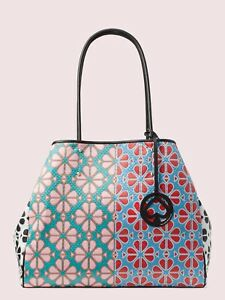 🎁Kate Spade Everything Spade Flower Large Tote & Pouch Wristlet Purse Bag Green
