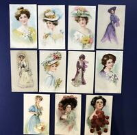 11 Lovely LADIES Antique Postcard SET 1908. For Collectors. Nice w Value