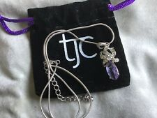 SIMULATED AMETHYST DROP PENDANT & CHAIN