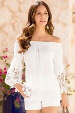 Fashion Long Sleeve Loose Casual Women T-Shirt Off Shoulder Tops Blouse Lace L