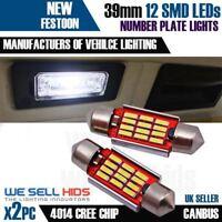 BMW E39 E46 M3 E60 E61 M5 12SMD Canbus Error Free White Number Plate Light Bulbs