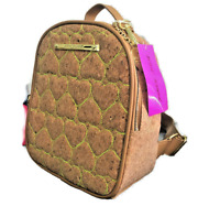 Betsey Johnson Quilted Cork Backpack NEON HEARTS Gold Hardware NEW WITH TAGS