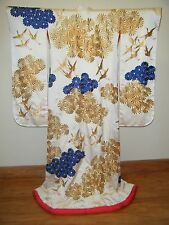 VTG Ivory Silk Japanese Uchikake Wedding Kimono Embroidered w/ Cranes & Mums