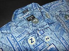 ROCAWEAR Button Front Shirt ~ XXL ~ Polyester Print ~ Blue