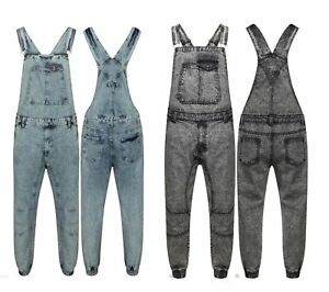 Mens Dungaree Acid Wash Full Length Denim Jeans Work Mid Bib Overalls XS - XXL