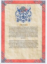 A4 Coat of Arms & Surname Meaning on 100g premium paper ~ Most British Names