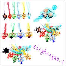 Wholesale 12Ps Animal Sea Turtle Murano Glass Lampwork Bead Pendant 3+1 Necklace