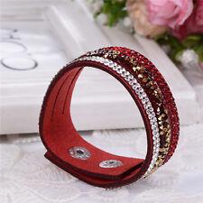 Elegant Leather Slake Bracelet Made With Swarovski Crystals - Red