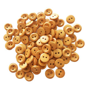100Pcs Wood Buttons Sewing 2 Holes Round Brown for Clothing Accessories 15mm