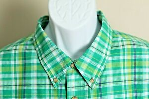 Duluth Trading Co Men's green, yellow and blue plaid short sleeve shirt 2XL XXL